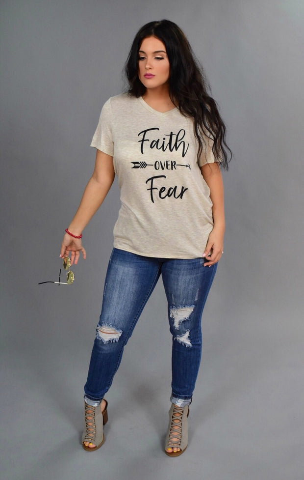 "GT-V ""Faith Over Fear"" V-Neck Beige Top"