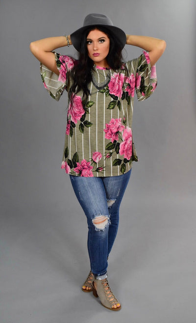PSS-L  {Come With Me} Mocha Striped Floral Tunic