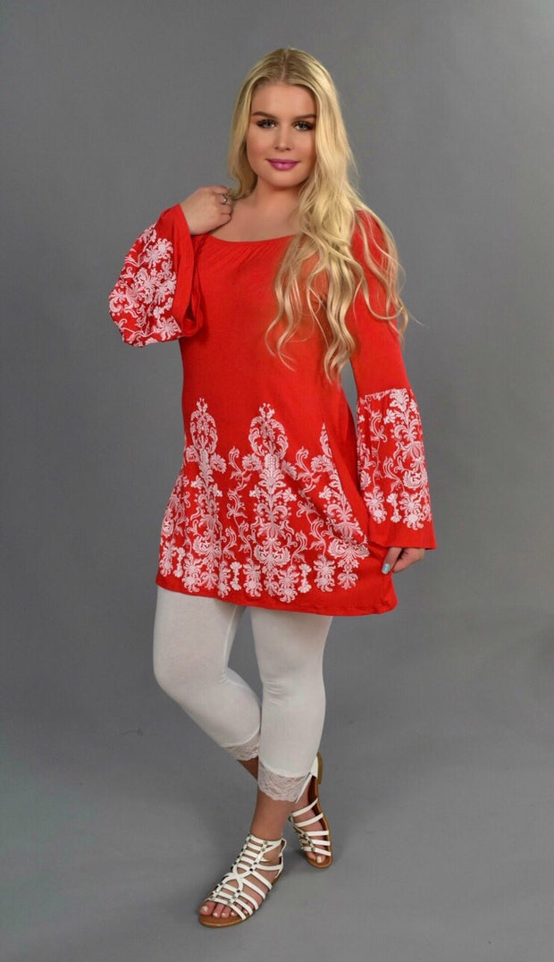 SD-X {Delicate Flower} Red Tunic with White Designs