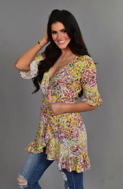 PQ-S {Morning Glory} Sage/Multi-Print Top with Ruffle Detail