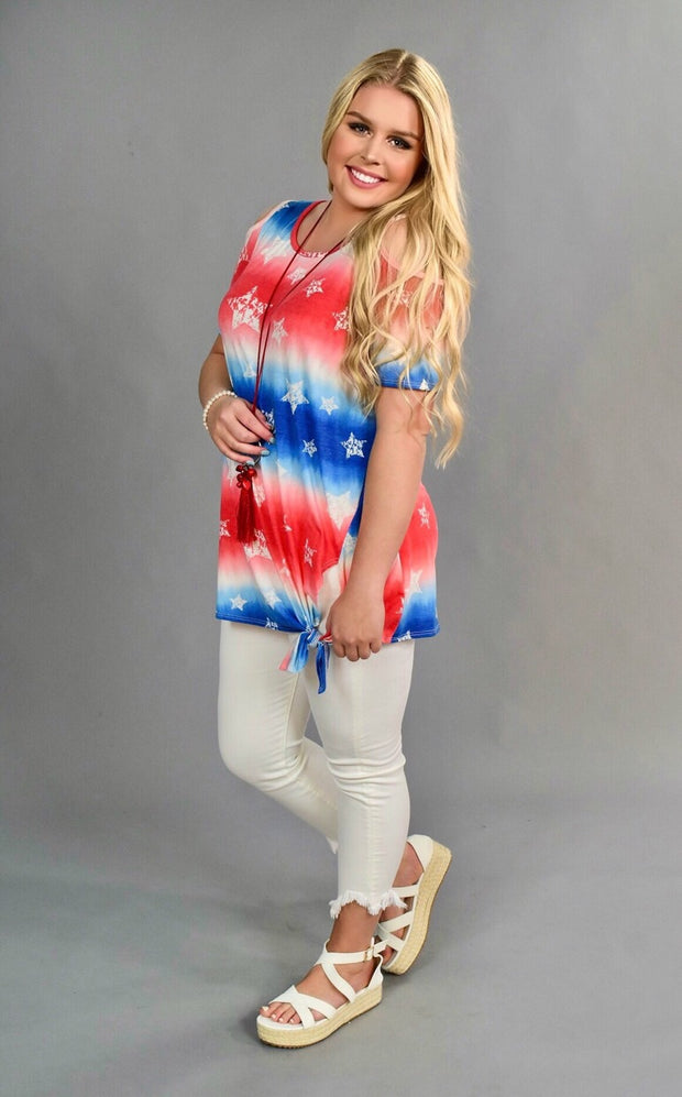 OS-G {USA Fun} Patriotic Stars Cold-Shoulder Top SALE!!