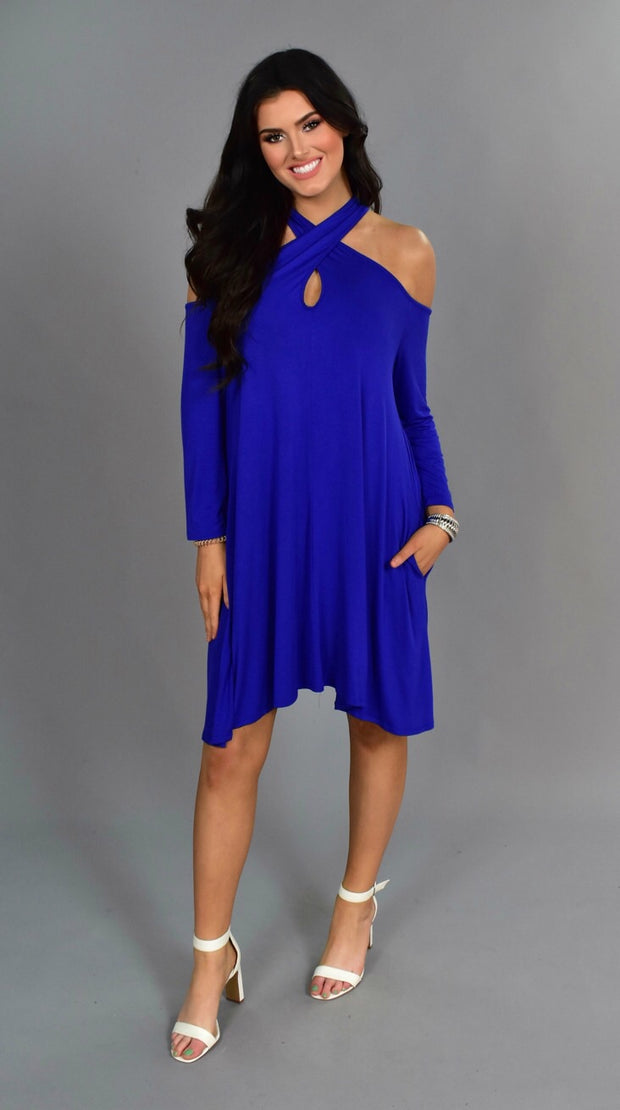 OS-K {Fun In The Sun} Cold-Shoulder Blue Keyhole Tunic