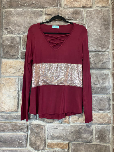 CP-A {Add Sparkle} Maroon Gold Glitter Neck Detail Top