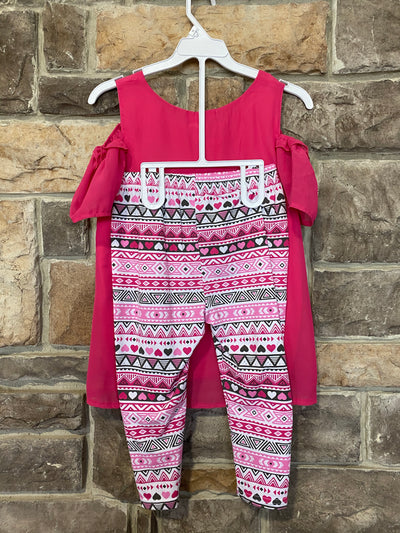 KIDS {Dress Up Days} Pink Top & Necklace W/Print Capr Set SALE!!