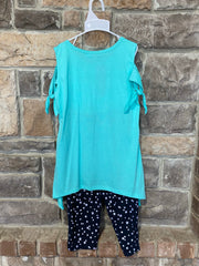 KIDS {Girls Rule} Aqua Graphic Tee Star Print Capri Set SALE!!