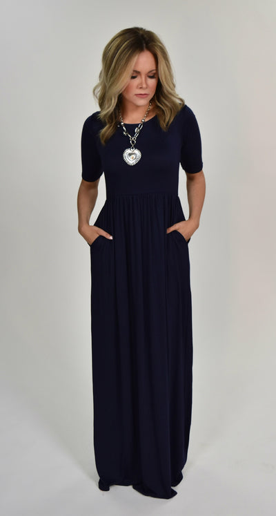 LD- D {Sun Is Shining} Navy Short Sleeve Maxi Dress