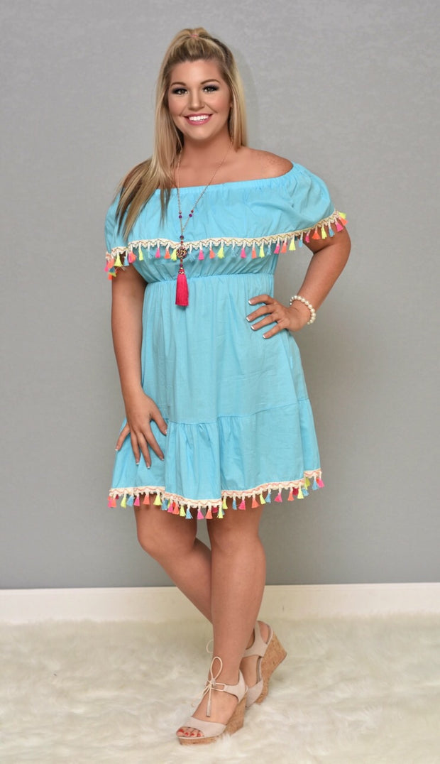 OFF-E Sky Blue Off Shoulder Overlap & Neon Tassels