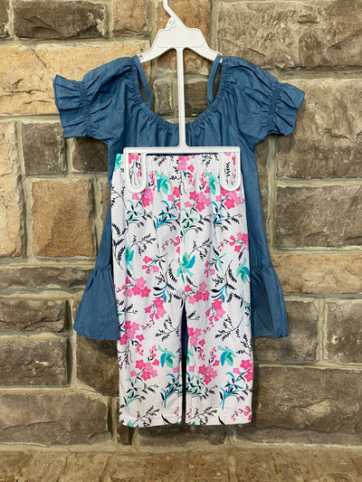 KIDS {Play Date} Light Chambray Top Floral Print Capri Set