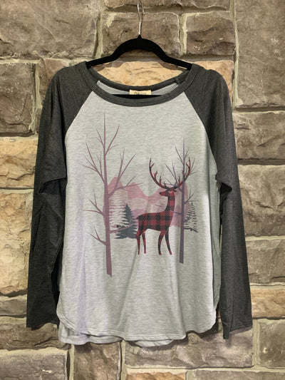 10-09 CP-O {Wild Winters} Grey Contrast With Deer Image Top SIZE S M L