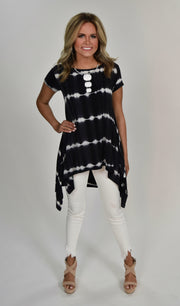 PSS-T {Ready Or Not} Navy Tie-Dye Tunic with Side Slits