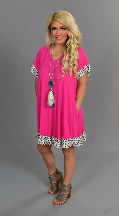 CP-C {Cool Topic} Fuchsia Dress with Leopard Print Trim