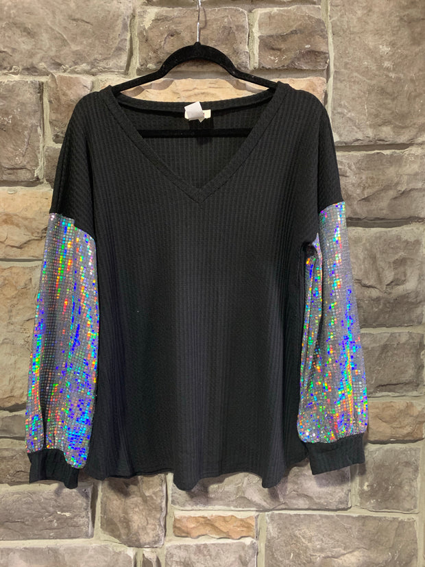 10-09 CP-G {Disco Time} Black Silver Sparkle Sleeve Top SIZE S M L XL