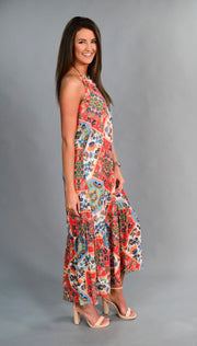 LD-B {Shine In The City} Floral Halter Dress with Lining