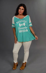 GT-E Mint & White Rescued Is My Favorite Breed Tunic