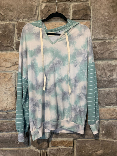 10-02 HD-E {Feel Special} Dusty Teal Tie Dye & Striped Hoodie SIZE S M L XL