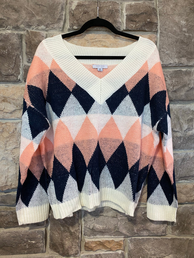10-13 CP-C {Endless Nights} Blush Navy Contrast Sweater SIZE S M L