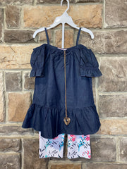 KIDS {Diva Vibes} Denim Top W/Floral Print Capri Set