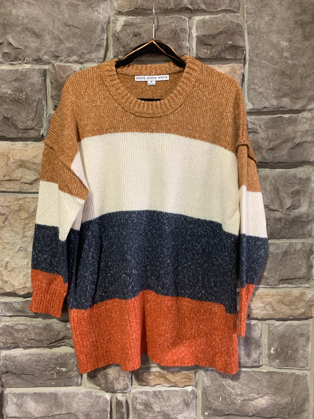 10-09 CP-M {Fall Feels} Rust Navy Color Block Sweater