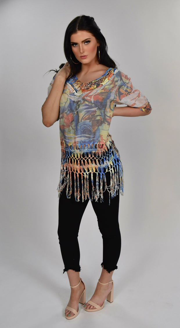PQ-H {Every Day Is A Vacay} Knit Tunic with Fringe Detail