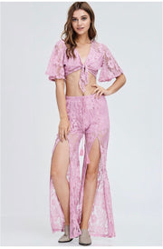 SET {Life Changing} Plum Lace Open Flare Pants with BoHo Top SALE!!