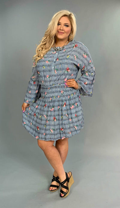 PQ-F {Run To You} Navy Floral Patchwork Dress