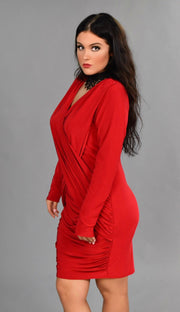 SLS-S {A Night Out} Red V-Neck Overlap Long Sleeve Dress