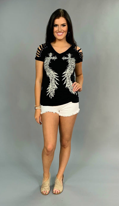 OS-S {Have Courage} Black V-Neck with Studded Wings Tee SALE!!