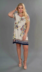 "PSS-i ""Now & Forever"" Border Print Floral Mock Neck Dress"
