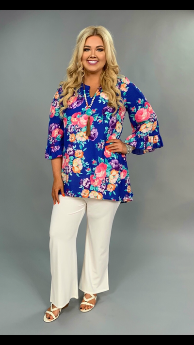 PQ-Z {Audience For You} Blue Floral V-Neck Bell Sleeve Tunic
