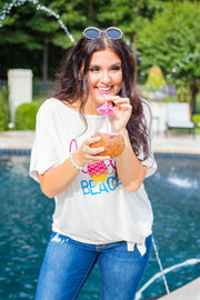 GT-A {Hola Beaches} White Graphic Tee with Front Tie SALE!!