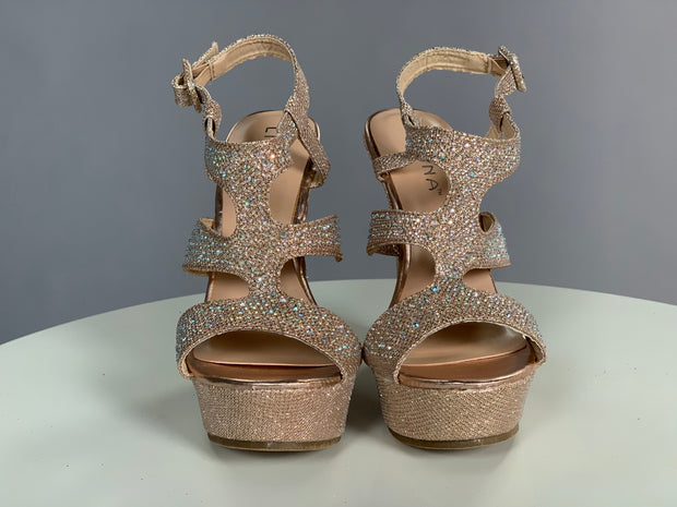 SHOES {Liliana} Sparkling Champagne Wedge Shoes