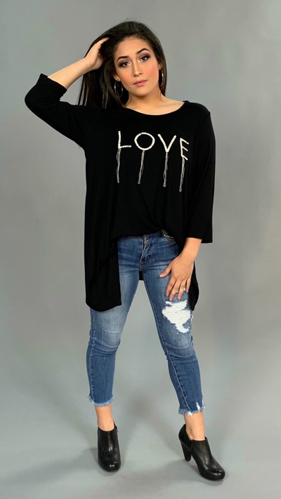 GT-V {LOVE} Asymmetrical Black Top with 3/4 Sleeves