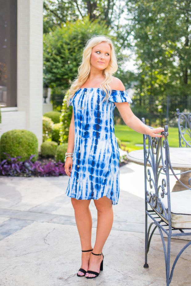 OS-B {Last One Here} Blue Bamboo Tie-Dye Print Dress