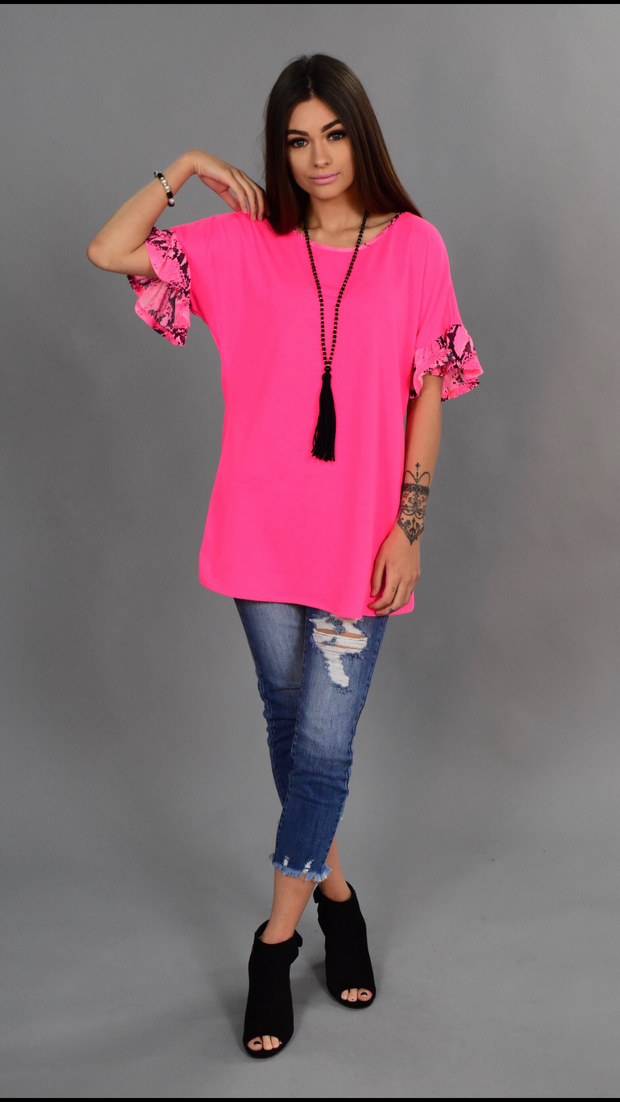 CP-D {Just A Game} Neon Pink/Snakeskin Print Top SALE!!
