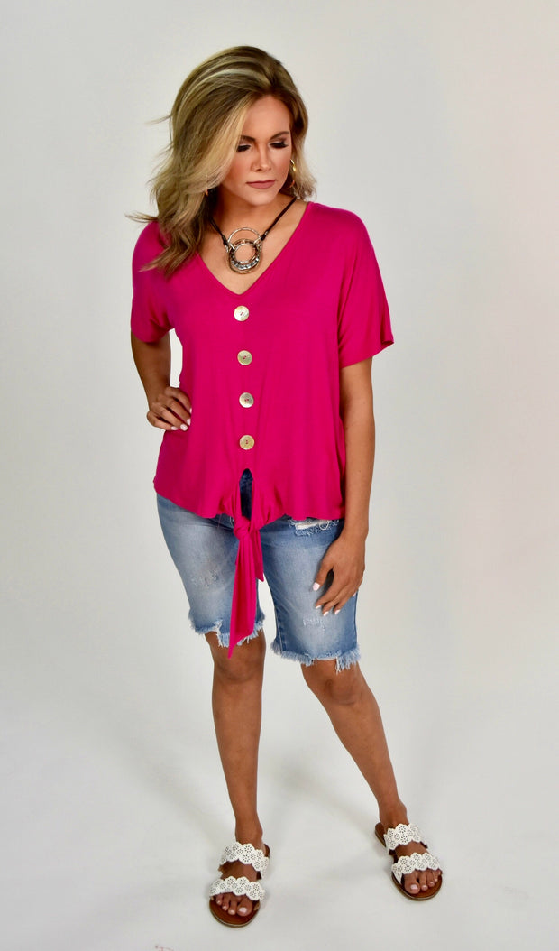 SSS-A {Famous In Love} Fuchsia Front-Tie Top w/Buttons