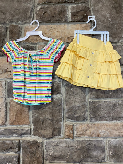 KIDS {Little Sunshine} Multi Stripe Shirt With Yellow Skirt Set