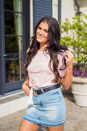 SSS-M {Sweet As Ever} Mauve Top with Flower Petal Sleeves