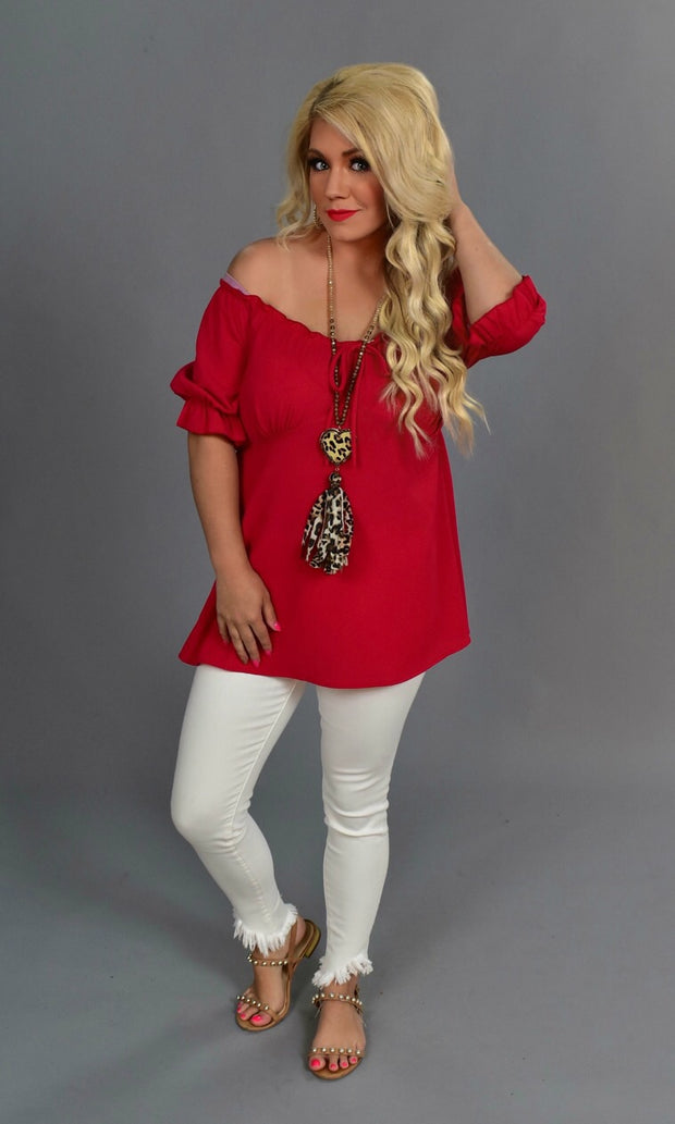 SSS-D {Rather Be With You} Red Top with Elastic Detail