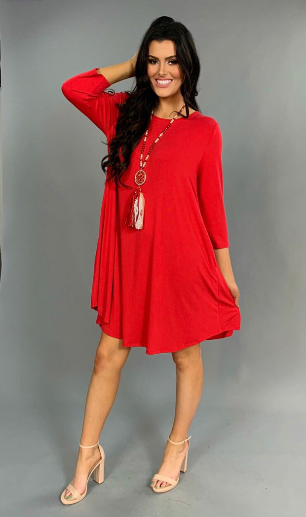 "SQ-F ""Red Lipstick"" with Side Pockets Tunic"