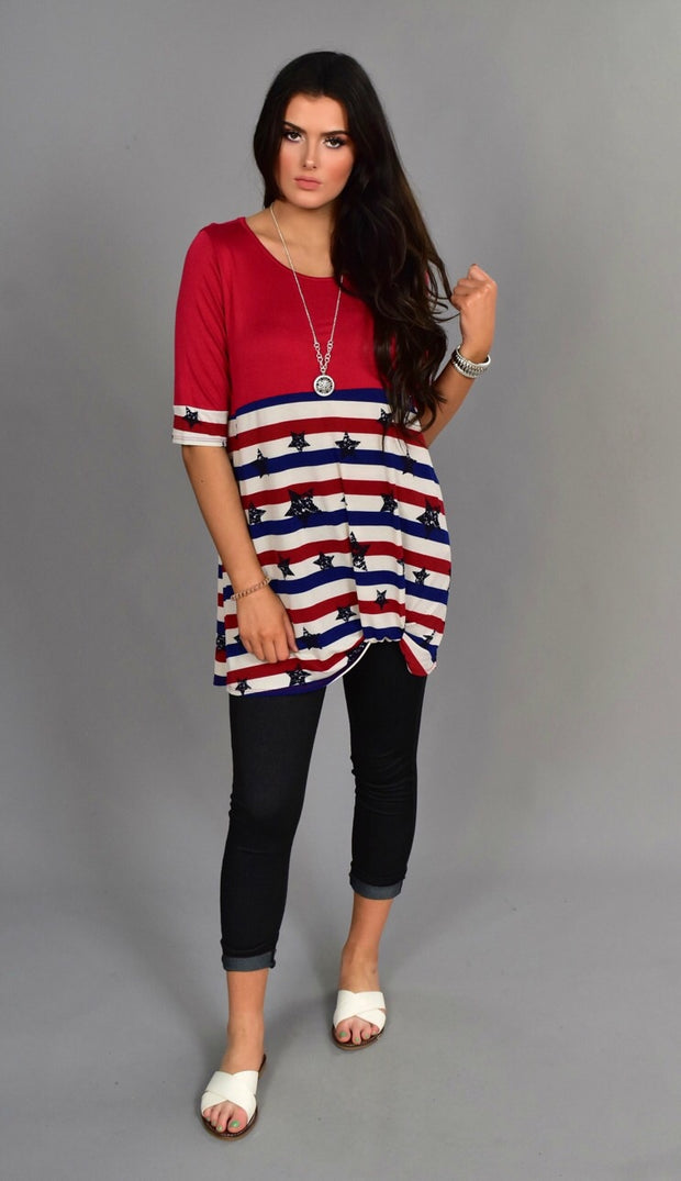 CP-I {Shooting Stars} Red Stars & Stripes Knot Hem Tunic