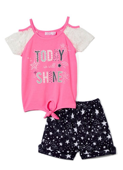 KIDS {Shine Like A Star} Grey & Pink Top W/Shorts Set SALE!!
