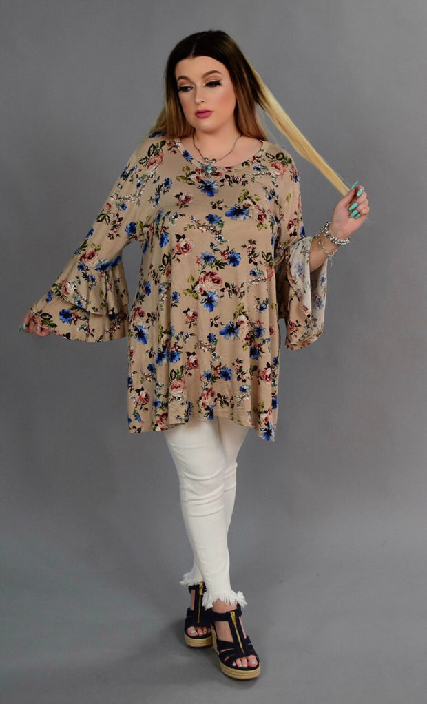 PQ-Z {Crazy Lover} Tan Floral Double Ruffle Tunic