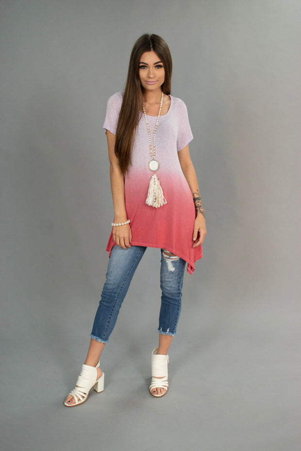 CP-E {Sweet Wishes} Asymmetrical Gradient Dye Top