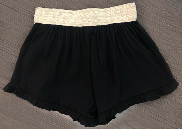 BT-B {It's Your Love} Black Shorts with Elastic Crochet Waistband
