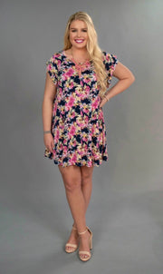 "PSS-P ""In Your Name"" Pink/Navy Floral Ruffle Sleeve Tunic"
