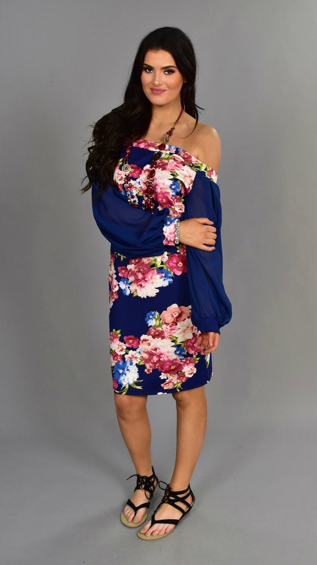 CP-H {Dreamy Thoughts} Navy/Rose Floral Print Dress
