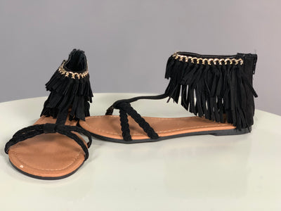 SHOES {Qupid} BLACK  with Braided CrissCross & Fringe