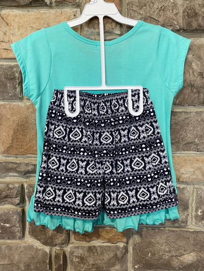 KIDS {Fields Of Spring} Aqua Graphic Tee Black Print Shorts Set
