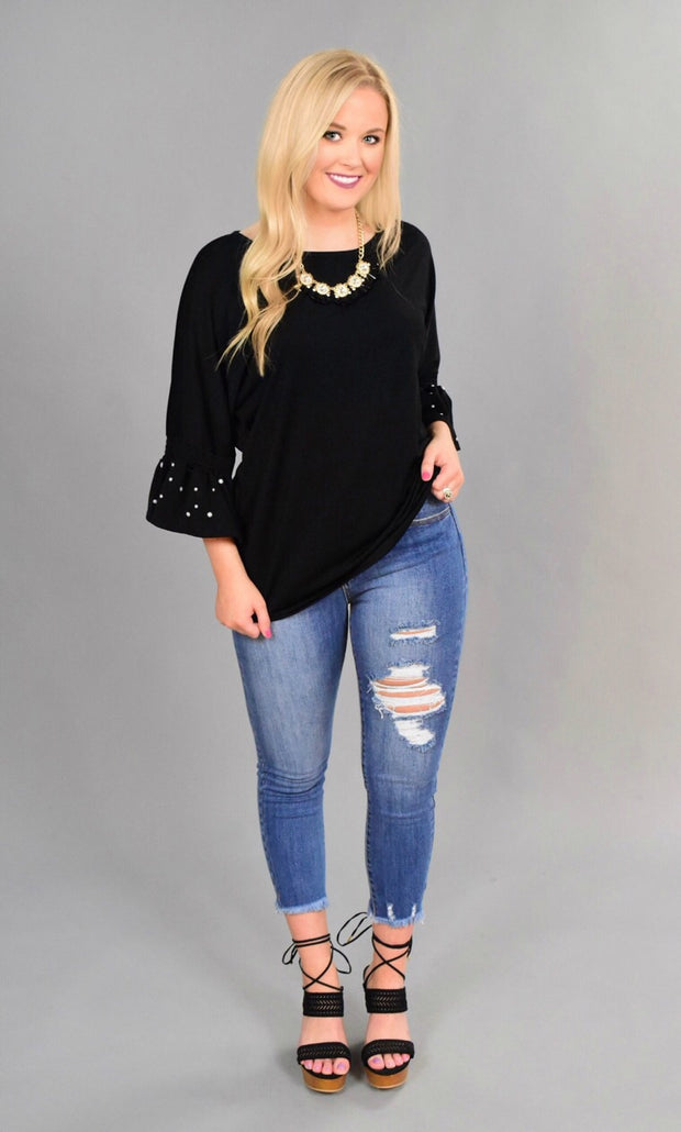 SD-H {Glam It Up} Black Tunic with Pearl Detailed Sleeves