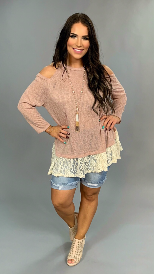 OS-T {Where Is The Love} Mauve Knit With Lace Tunic